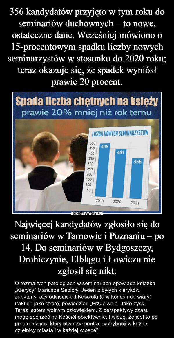 """Najwięcej kandydatów zgłosiło się do seminariów w Tarnowie i Poznaniu – po 14. Do seminariów w Bydgoszczy, Drohiczynie, Elblągu i Łowiczu nie zgłosił się nikt. – O rozmaitych patologiach w seminariach opowiada książka """"Klerycy"""" Mariusza Sepioły. Jeden z byłych kleryków, zapytany, czy odejście od Kościoła (a w końcu i od wiary) traktuje jako stratę, powiedział: """"Przeciwnie. Jako zysk. Teraz jestem wolnym człowiekiem. Z perspektywy czasu mogę spojrzeć na Kościół obiektywnie. I widzę, że jest to po prostu biznes, który otworzył centra dystrybucji w każdej dzielnicy miasta i w każdej wiosce""""."""