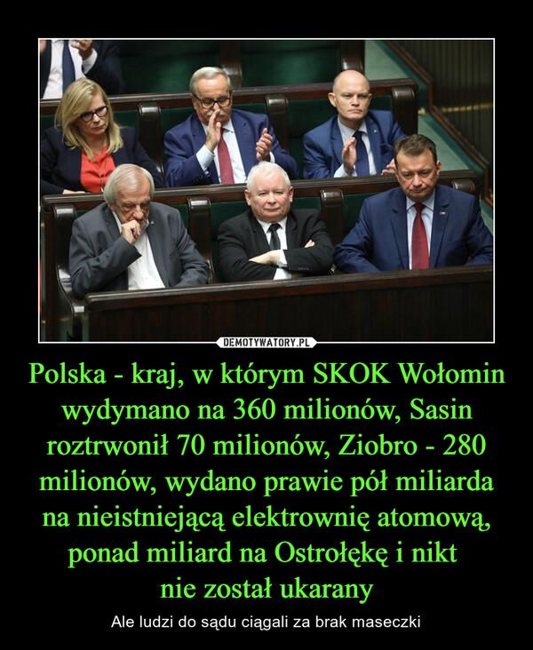 Polska - kraj, w którym SKOK Wołomin wydymano na 360 milionów, Sasin roztrwonił 70 milionów, Ziobro - 280 milionów, wydano prawie pół miliarda na nieistniejącą elektrownię atomową, ponad miliard na Ostrołękę i nikt nie został ukarany – Ale ludzi do sądu ciągali za brak maseczki