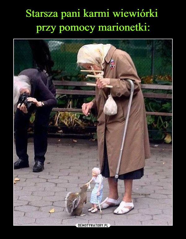 Starsza pani karmi wiewiórki przy pomocy marionetki: